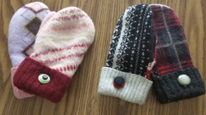 Handmade felted wool mittens made from felted wool sweaters