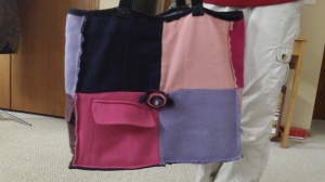 Satchel made from felted wool sweaters and blazers