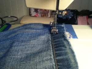 Sewing End of Pantleg for Heating Pad Refashion | DIary of a MadMama
