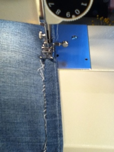 Making a New Hem for Heating Pad Denim Refashion | Diary of a MadMama