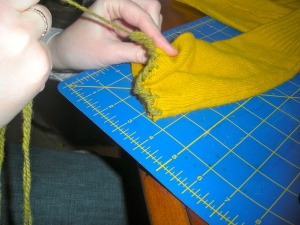 Making fingerless gloves out of a refashioned sweater | Diary of a MadMama