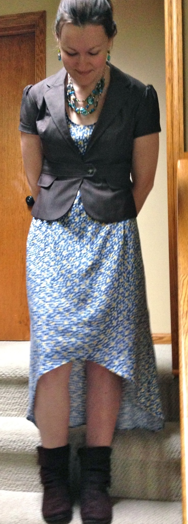 Ugly Dress to Hi-Low Dress Refashion | Diary of a MadMama