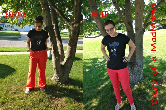 Refashioning a too-big and baggy pair of pants into skinny jeans | Diary of a MadMama