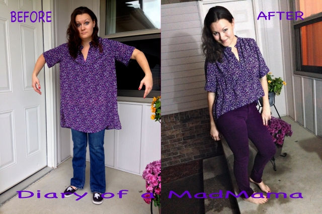 Purple Peplum Mullet Shirt Refashion | Diary of a MadMama