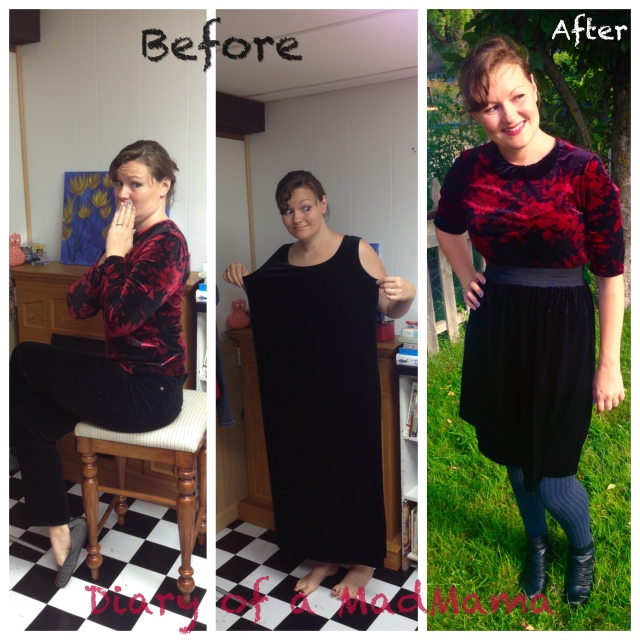 Velvet Refashion Before and After | Diary of a MadMama
